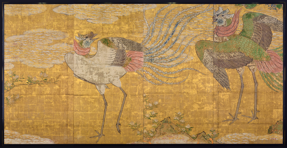 7 Partition painting of phoenixes from the Honmaru great hall of Sendai Castle