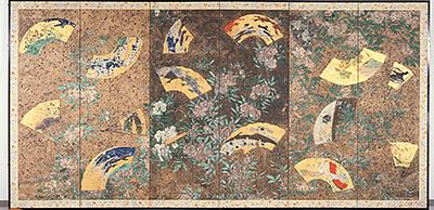 ภาพวาดบนฉากกั้นที่เกี่ยวข้องกับปราสาทเซนไดและปราสาทวาคาบายาชิ