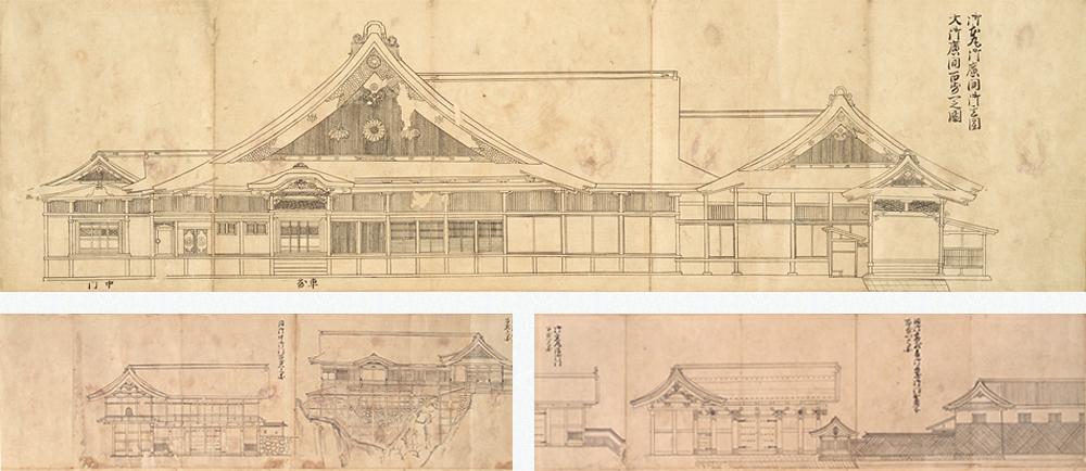 6 ภาพวาดแผนที่ปราสาทเซนได คฤหาสน์เอโดะคามิและสิ่งก่อสร้างที่สำคัญ