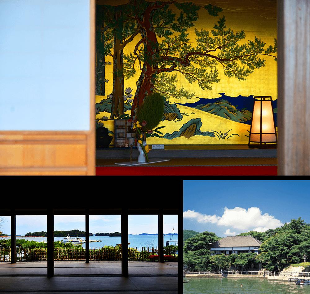 24 คันรันเทอิ (ห้องรับรองเพื่อที่จะชมวิวคลื่นทะเล) และภาพวาดบนฉากกั้นห้อง