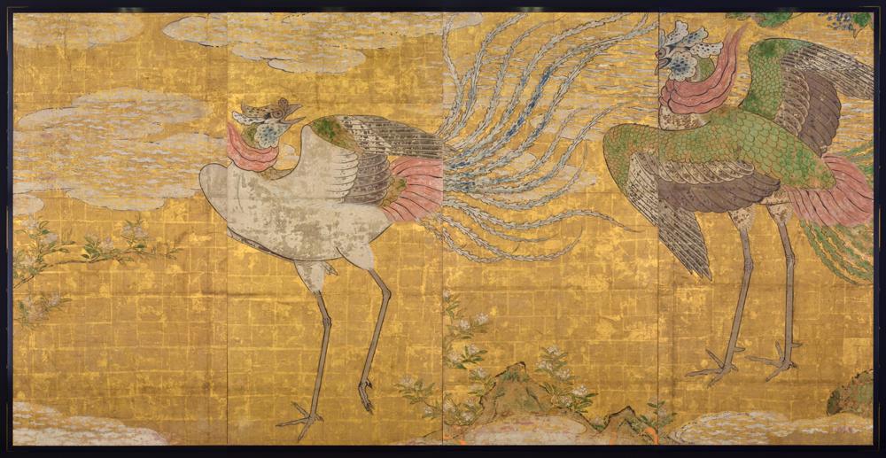 7 ภาพนกไฟ ภาพบนฉากกั้นห้องโถงใหญ่ <br>เรือนหลัก ปราสาทเซนได