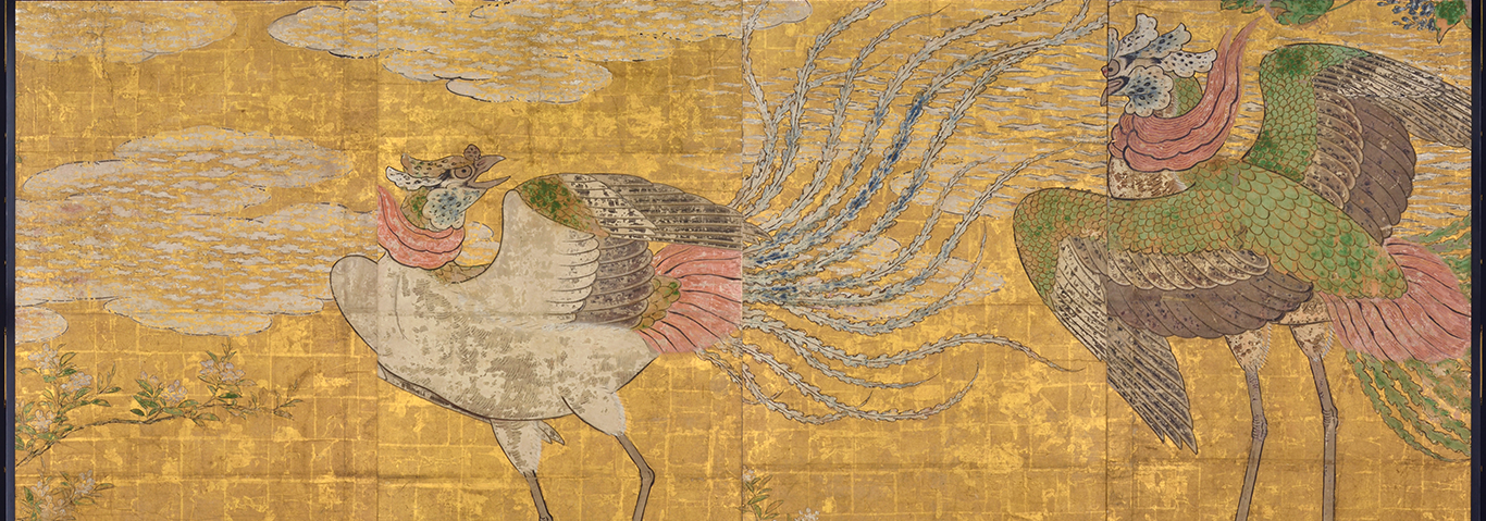 Partition painting of phoenixes from the Honmaru great hall of Sendai Castle